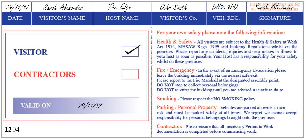 Generic Visitor Passes Easily Identify Visitors