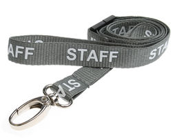 Our Staff Lanyards Are Dyed In Grey And Printed Repeatedly With Staff In Capital Letters So You Can Clearly Identify The Wearer, The Staff Lanyard Comes Complete With A Lobster Claw Styled Clip And A Safety Breakaway