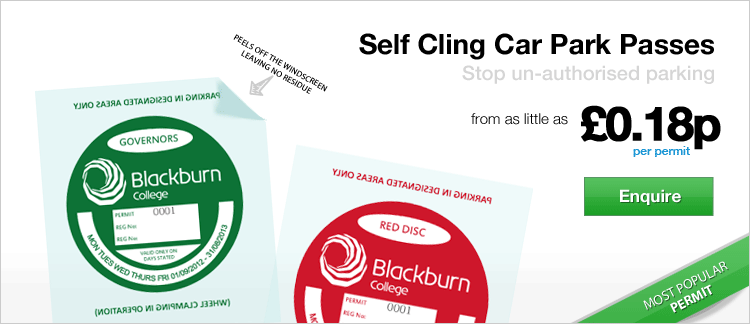 Self Cling Parking Permits - Static cling to your windscreen and leaves no residue from only �0.18p per permit