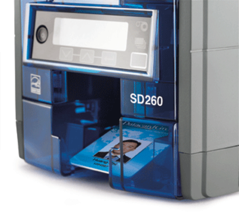 Focused on the print output hopper, this image shows the Datacard SD260 print quality.