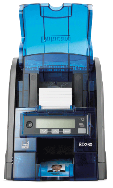 Another clean image of the Datacard SD260 printer taken from the front with the hopper open so the cards are clearly seen.