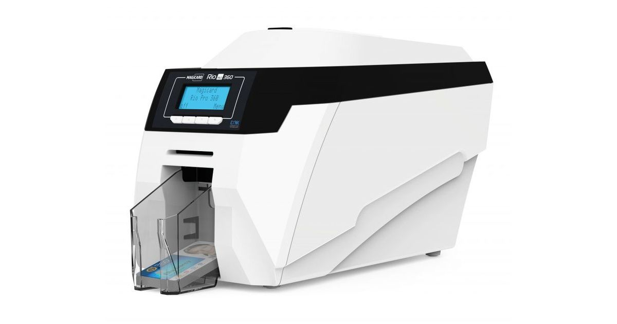 The Magicard Rio Pro 360 ID Card Printer Visible From The Side.