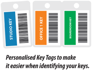 Key Tags | Three Key Tags pre-printed with barcodes and colour top (illustration)