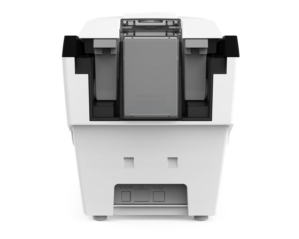 A photo showing the back of the Magicard Rio Pro 360 card printer, see the connection options and the input hopper.