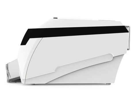 A picture of the Magicard Rio Pro 360 card printer from the side.